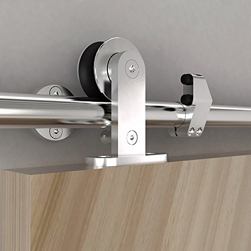 DIYHD 5FT Stainless Steel Top Mounted Sliding Barn Wood Door Closet Door Sliding Track Hardware Safety Pin Hanger Barn Door Sliding Kit-Can work with 16'' apart studs wall by DIYHD (Image #2)