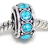 """Jewelry Monster Antique Finish """"Aquamarine"""" March Birthstone Spacer Charm Bead for Snake Chain Charm Bracelet"""