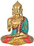 Tibetan Buddhist Lord Buddha in Vitark Mudra - Brass with Inlay Statue
