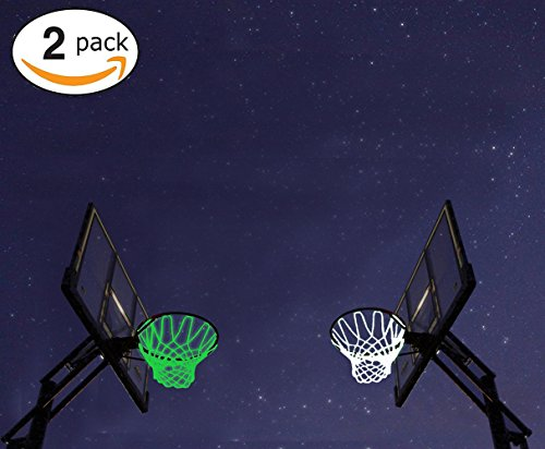Debolic 2Pcs Basketball Hoop Net New Glow In The Dark Professional Basketball Sports Replacement Luminous Net Fits Standard Indoor or Outdoor All-Weather Heavy Duty Thick Net (white+inexperienced) – DiZiSports Store