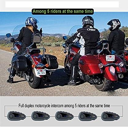Set interfono con Auricolari Bluetooth per Casco comandi al Manubrio NFC funzione vivavoce 5/motociclisti 1200/m radio FM