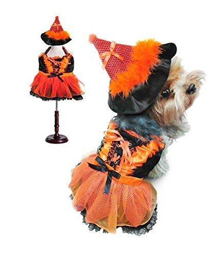 Hocus Pocus Witch Costumes Pattern (Witch Deluxe Costume with LED Light-Up Skirt For Dogs by Puppe Love (Size 4 (12.5
