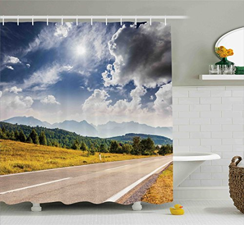 Landscape Shower Curtain By Ambesonne  American Desert Abandoned Road Hot Sunny Clouded Weather Art Image  Fabric Bathroom Decor Set With Hooks  84 Inches Extra Long  Taupe Amber Green Grey