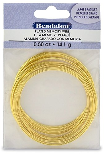 Beadalon Gold Plated Memory Wire Bracelet-1//2-Ounce//Pkg Approx 30 Loops