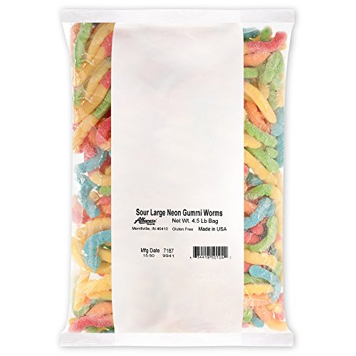 Albanese Candy Sour Large Neon Gummi Worms 4.5 Pound Bag Gummi Candy, Assorted Flavors: Blue Raspberry, Lemon, Orange, Cherry, Green Apple; Gluten Free Dairy Free Fat Free ()