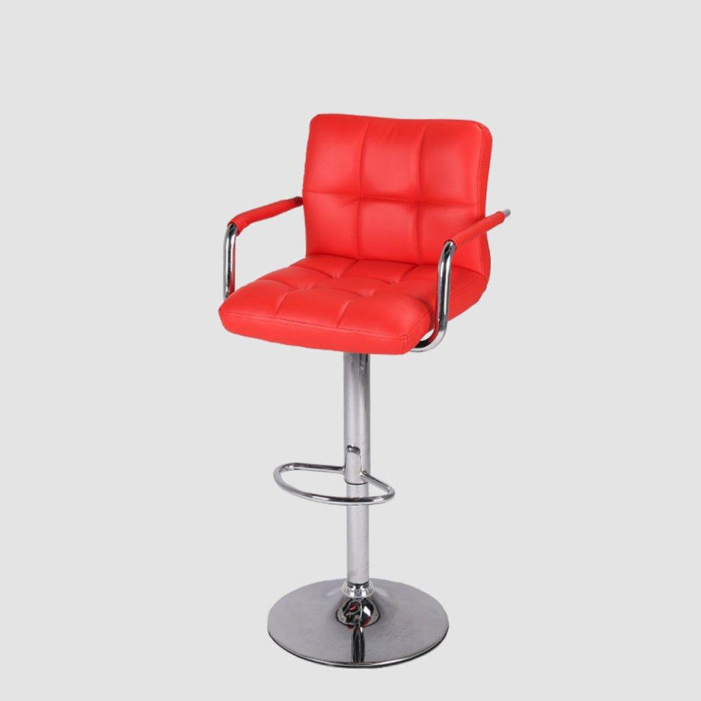 バースツール、PUバックレストバースツール、スイベルトールキッチン朝食席、リフティングハイト(60-80 Cm) ( Color : Red ) B07CM67F53 Red Red