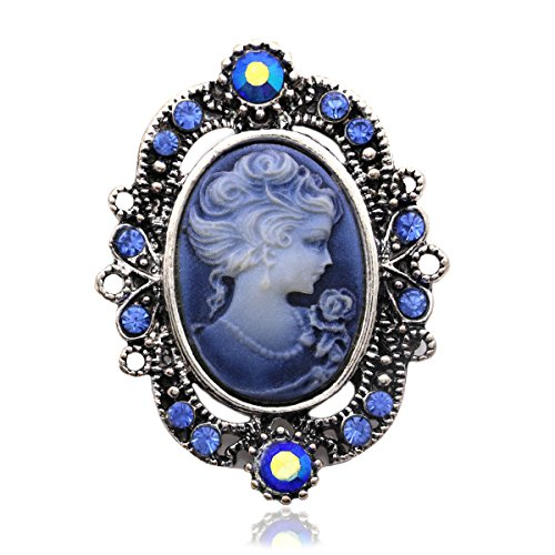 Royal Blue Cameo Brooch Pin Charm for Women Necklace Pendant (Cameo Pin Pendant Brooch)