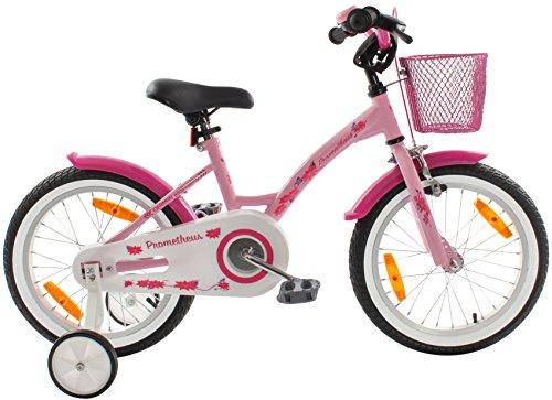 PROMETHEUS Bicicleta para niña | 16 pulgadas | Color rosa y blanco | Con ruedas de apoyo | Aluminio Frenos de tiro lateral y freno de contrapedal | Paquete de seguridad incluido | A partir de 5 años | 16″ Classic Edition 2018