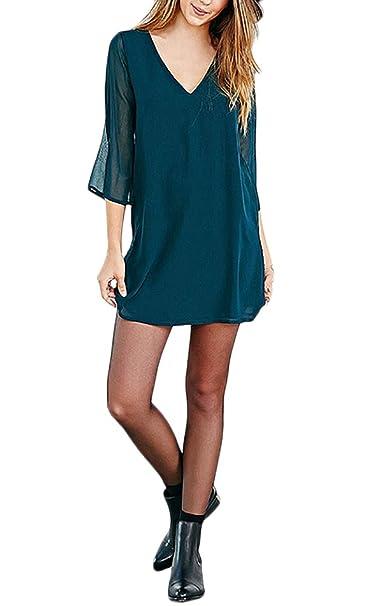 Vestiti Donna Eleganti Autunnale Invernali Corti Vestiti Moda Abiti  Profondo V Sciolto Backless Manica 3 4 Chiffon Delle Vestito Puro Colore  Casual ... 122d35906d2