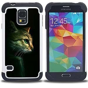 For Samsung Galaxy S5 I9600 G9009 G9008V - Cat Feline Portrait Profile Green Eyes /[Hybrid 3 en 1 Impacto resistente a prueba de golpes de protecci????n] de silicona y pl????stico Def/ - Super Marley Sho