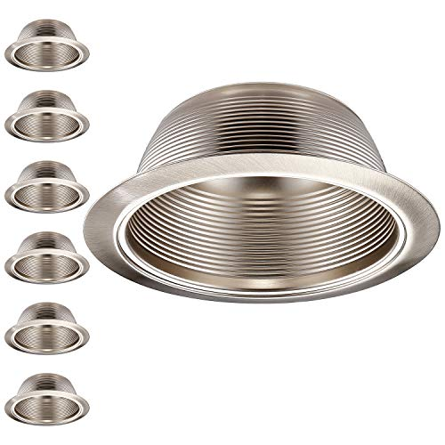 (TORCHSTAR 6 Pack 6 Inch Recessed Can Light Trim with Satin Nickel Metal Step Baffle, Detachable Iron Ring Included, Fit Halo and Juno Remodel Recessed Housing)