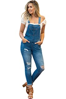 85e129429b346 NioBe Clothing Women's Juniors Rolled Cuffs Ankle Length Distressed Denim  Overalls