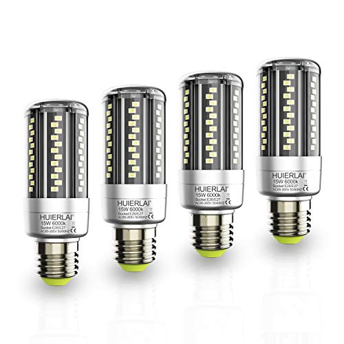 4 Pack LED Corn Light Bulb E26 Bright Led Bulb 15W (Equivalent 120W Incandescent Bulbs) 1600LM 6000K Cool Daylight Led Corn Bulb Energy Saving Bulbs Led Edison Bulb