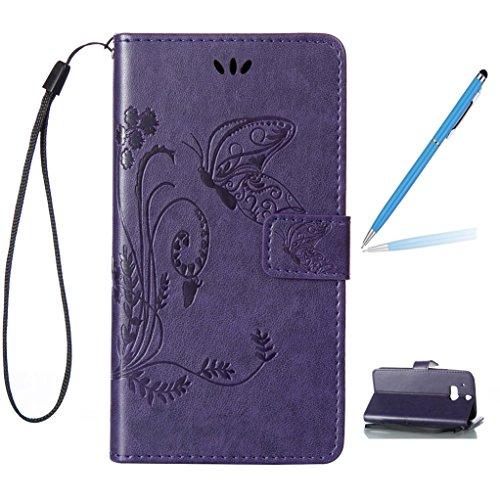 Trumpshop Smartphone Carcasa Funda Protección para HTC Desire 816 + Púrpura + PU Cuero Caja Protector Billetera con Cierre magnético la Ranura la Tarjeta Choque Absorción Púrpura