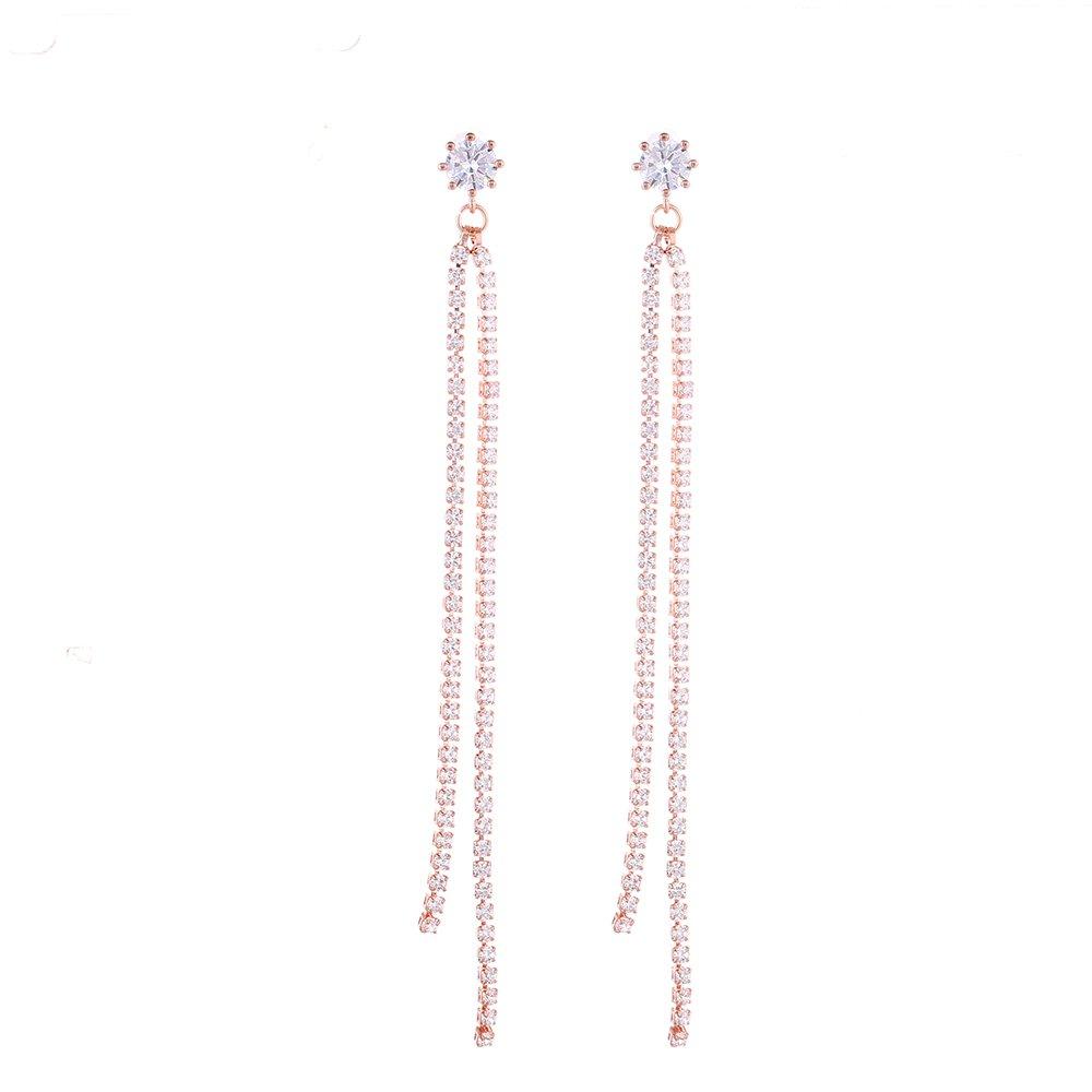 Long Tassel Rose Gold Zircon Drop Earring For Lady Simple Style Jewelry Popular Vintage Gift