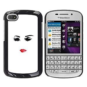Be Good Phone Accessory // Dura Cáscara cubierta Protectora Caso Carcasa Funda de Protección para BlackBerry Q10 // Minimalist Lips Eyes Lady Woman Red