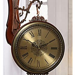 Boxer Briefs Two-Sided Clock Table Double-Sided Wall Clock Mute Alien Living Room Solid Wood Clock Large Double-Sided Wall Clock (Color : B)