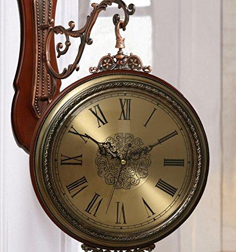ショーツブリーフ 両面時計テーブル両面壁時計ミュートエイリアンリビングルームソリッドウッド時計大きな両面壁時計 B07C22T5Z8 B B