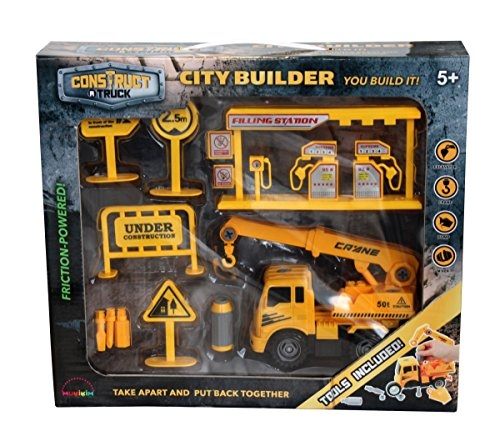 Construct a truck-city Builder set-crane。作成A City Construction Site  then take the Truck Apart & Put It Back Together + Friction Powered ( Like 3-toys-in-1 。 )Award Winningセットencourages創造性。