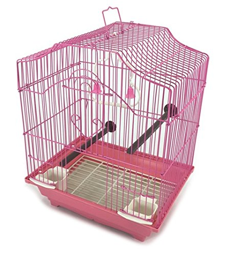 Bird Cage Kit Pink Starter Set Perches Swing Feeders Scalloped Top Small Bird EDMBG