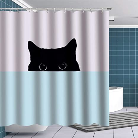 Cute Cat Waterproof Bathroom Polyester Shower Curtain Liner Water Resistant