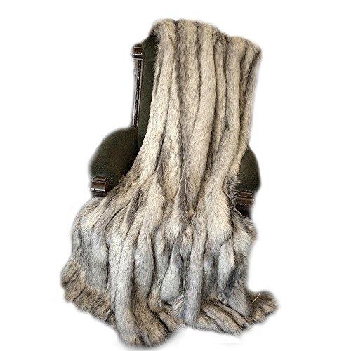 (Plush Gray Stripe Fox - Premium Quality Faux Fur - Designer Throw Blanket - Soft Minky Cuddle Fur Lining)
