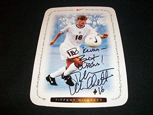 1996 Team USA Soccer Tiffany Millbrett Auto Signed Nike 5x7 Card Stock Photo C (Tiffany Nike)