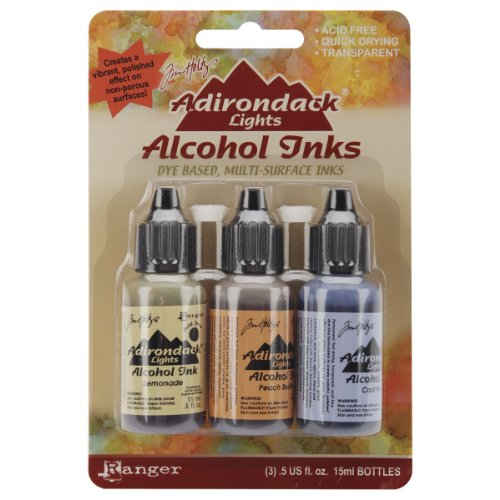 Ranger Adirondack Lights Alcohol Ink .5 Ounce 3/Pkg-Wildflowers-Lemonade/Peach Bellini/Peri by Ranger