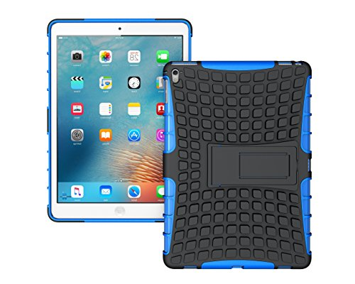 iPad Pro 9.7 2017 Armor Case with Kickstand, Auti-Scratch Cover Shell Bummper [Rugged] [Protective] [Dual Layer] [Heavy Duty] [Shock Absorption] [ [TPU PC] for Apple iPad Pro 9.7 2017 Tablet (blue 1) by leiminger