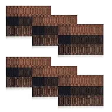 Shacos Exquisite PVC Placemats Woven Vinyl Place Mats for Table Heat-resistant Placemats(6, Ombre Coffee and Black)