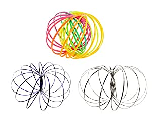 Set Of 3 Multi Sensory Interactive 3D Shaped Flow Ring Magic Original Kinetic Flow Ring Toy Spring Toy For Kids Boys Girls Man Women Adult Decorative Accessories