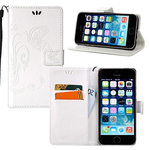 Erdong® Magnético Folio Flip Caso Con pata de cabra titular de la tarjeta Para Apple Iphone 6 Plus / 6S Plus, Elegant Simple Book-style [Blanco flor de mariposa] patrón de impresión cuero del soporte