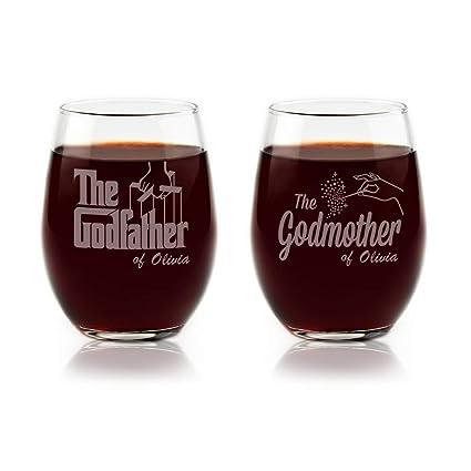 Personalised Godfather Godmother Crystal Whisky Glasses Unique Godparent Gift