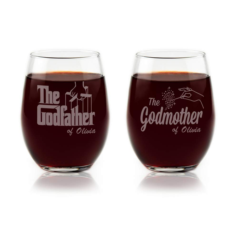 Godparent Baptism Gifts - Personalized Godparent Stemless Wine Glass Gift Set