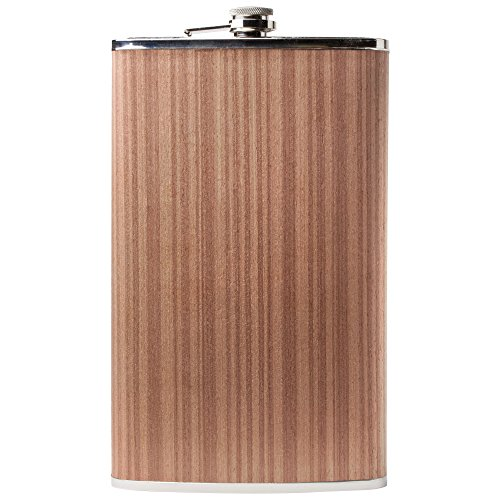 (Maxam Jumbo Stainless Steel Flask With Wood Wrap, Extra Large Drinking Flask, 64 Ounce Capacity)