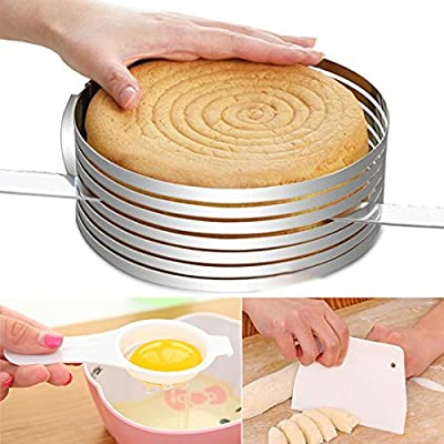 3 IN 1 Layered Slicer Cake Ring Set 6-8 inch Circular Baking Tool Kit Set Mousse Mould Slicing Ankoow include 1PCS Egg White Separator and 1PCS Cake Edge Smoother Scraper Cutter