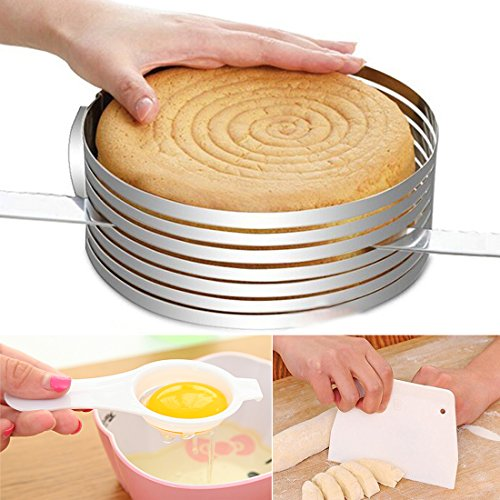 3 IN 1 Layered Slicer Cake Ring Set 6-8 inch Circular Baking Tool Kit Set Mousse Mould Slicing Ankoow include 1PCS Egg White Separator and 1PCS Cake Edge Smoother Scraper Cutter (8 Cake Pan With Cutter compare prices)