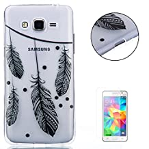 Samsung Galaxy Grand Prime G530 Silicone Gel TPU Case CasesHome Ultra Slim Shockproof Anti Scratch Protective Case Printed Black Pattern Design Shell + Free Screen Protector-Feather Print