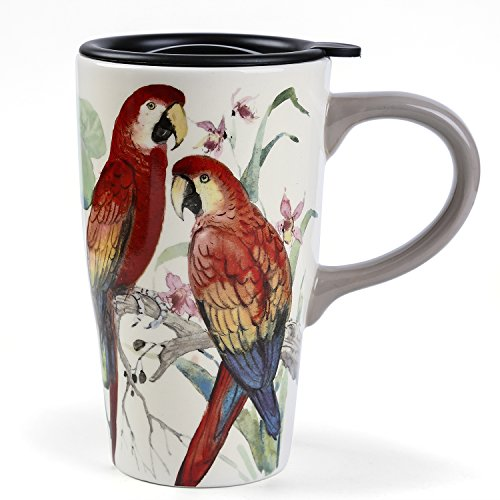 Parrot Mug Large - Minigift Parrot Bird Tall Ceramic Travel Coffee Mug with Lid 16oz-Red