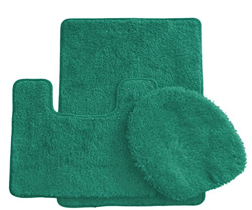 Royal Plush Collection 3-Piece Bathroom Rug Set, Bath Mat, Contour and Toilet Cover (Standard Round Size Toilet) - Tropical Green (Toilet Seat Cover Green)