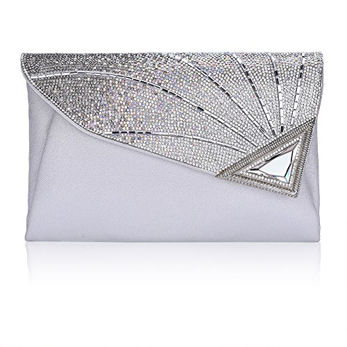 Clutch Purse For Women Formal Ladies Rhinestone Clutch handbags Leather Clutch Bag Wedding Bridal Cocktail With Strap(silver) by Vavabox