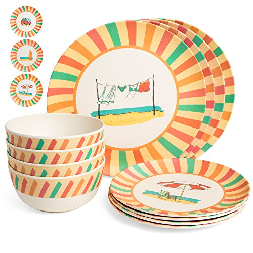Bamboo Dinnerware Set - Camping, Kids and Family Reusable Dishes - 4 Small Plates, 4 Bowls, 4 Large Plates - Durable, Lightweight, Eco-Friendly, Non-Toxic - Casual, Retro Dishware, 12 Piece Sets by Roam