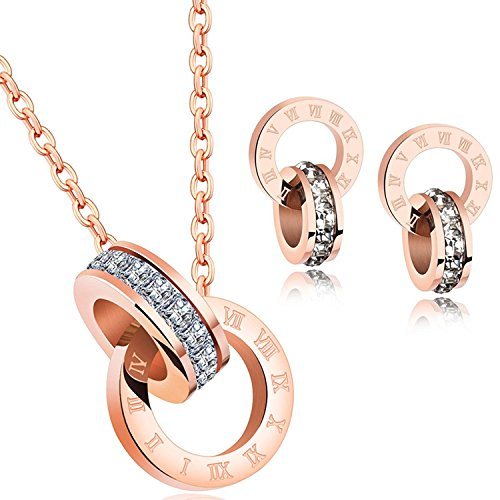 Showfay 18k Rose Gold Pendant Necklace Crystal from Swarovski Stainless Steel Jewelry Gifts for Women (Set)
