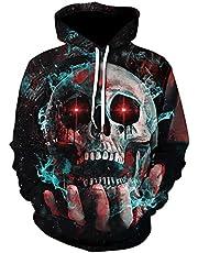 WXDSNH Halloween Skull 3D-sweatshirt voor dames en heren, met capuchon, met zak, herfst, hoodie, casual, horror, lange mouwen, straat