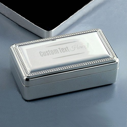 Center Gifts Double Velvet Silver Jewelry Box Engraved Ornate | Trinket Organizer to Store Earing, Ring, Necklace | Personalize it with Name or Message