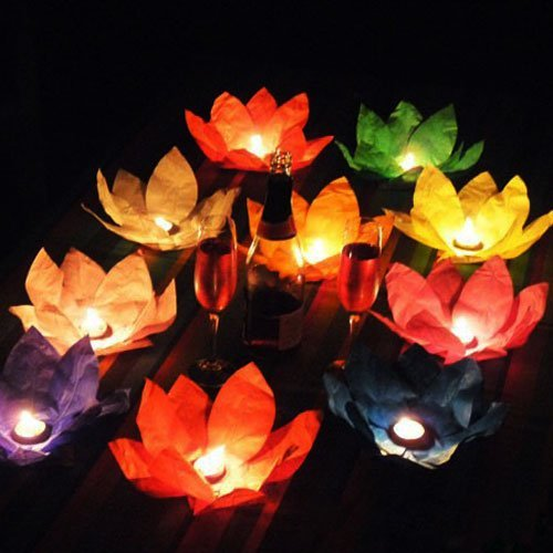 EWIN(R) 20PCS Chinese Paper Lotus Flower Floating Lanterns Birthday Wedding Party