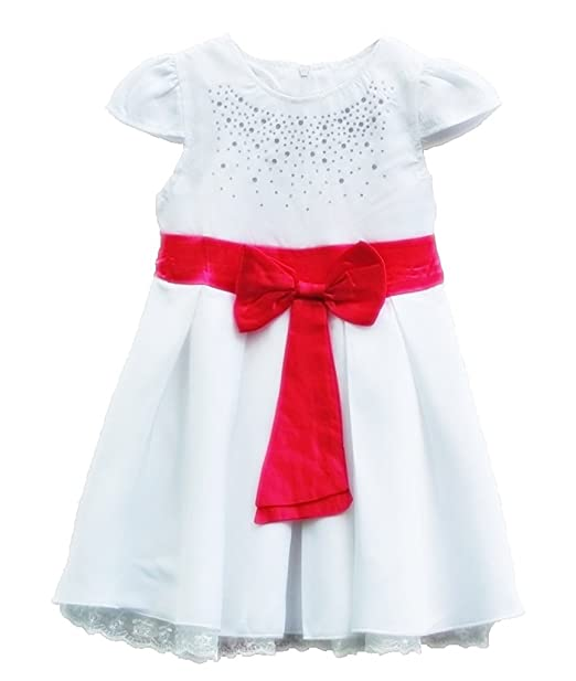 e74c0245162 TheTickleToe Kids Girls Baby White Blended Dress with Pink Bow Casual  Summer Winter Dress 2-3 Years  Amazon.in  Clothing   Accessories