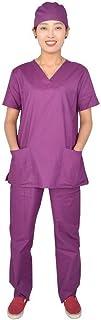 QZHE Abbigliamento medico Tuta Medica Ospedale Medico Infermiera Manica Corta Abbigliamento Medico con Scollo A V Solita Divisa Medica Femminile