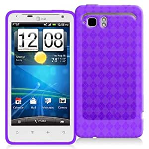 Purple Checkered TPU Rubber Skin Case Cover for HTC Raider 4G / Vivid / Holiday