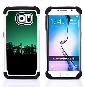 - teal skyline city buildings night/ H??brido 3in1 Deluxe Impreso duro Soft Alto Impacto caja de la armadura Defender - SHIMIN CAO - For Samsung Galaxy S6 G9200